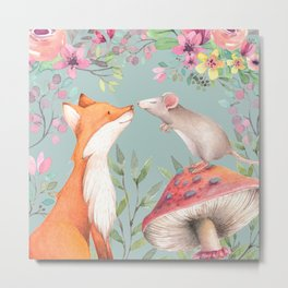 Fox & mouse Metal Print