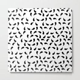 Black and White Modern Tear Drop Pattern Metal Print