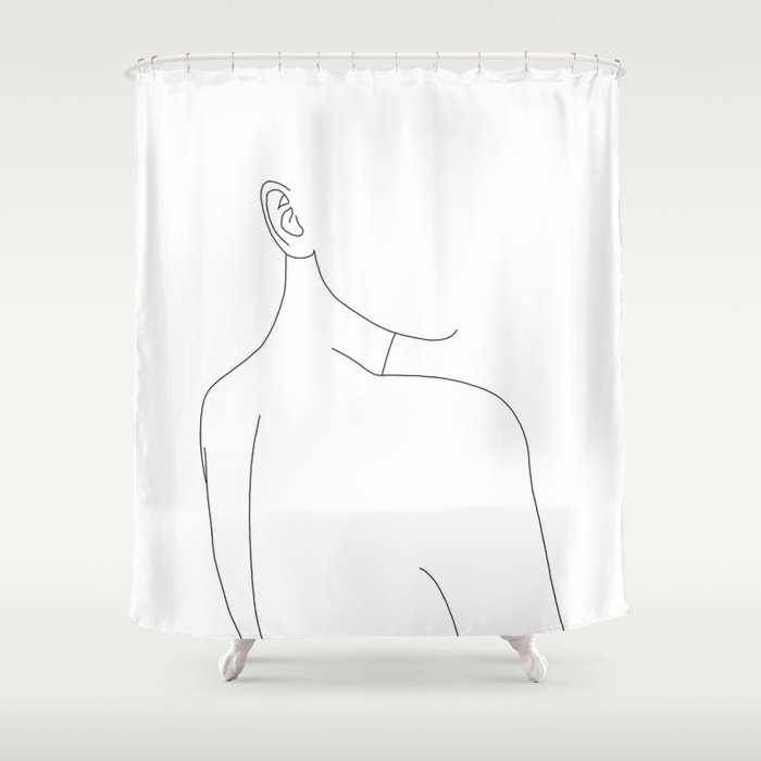 Woman's nude back and shoulders illustration - Alina Shower Curtain