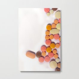 Numerous colorful pills on white background. Metal Print