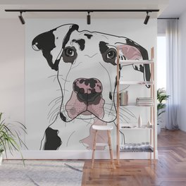 Great Dane Dog (b/w/pink) Wall Mural