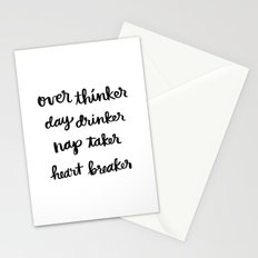 over thinker, day drinker Stationery Cards