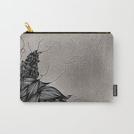 Unravelling Lines Illustration in Silver Carry-All Pouch