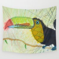 toucan Wall Tapestries featuring Toucan by Kandus Johnson