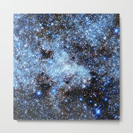 Blue gAlaxY Sparkle Stars Metal Print