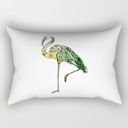 Yellow Flamingo Illustration Rectangular Pillow