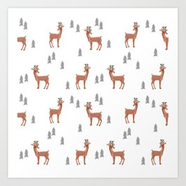 Rudolph christmas santa's reindeer forest winter deer Art Print