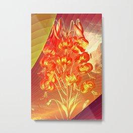 Floreal - Tropical Orange Lily Flowers Surrealism Metal Print