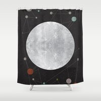 the moon Shower Curtains featuring Moon by FLATOWL