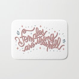 Females are strong as hell - pink Bath Mat