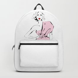 Fashion girl in drapped dress Backpack