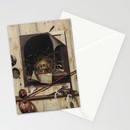 Cornelius Norbertus Gijsbrechts - Trompe l'oeil with Studio Wall and Vanitas Still Life.jpg Stationery Cards