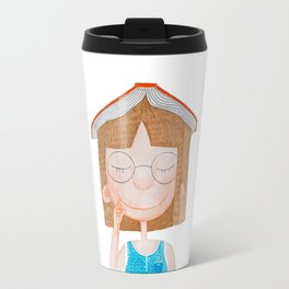 Smiling little cute girl with eyeglasses, and red book on her head. Watercolor illustration. Travel Mug
