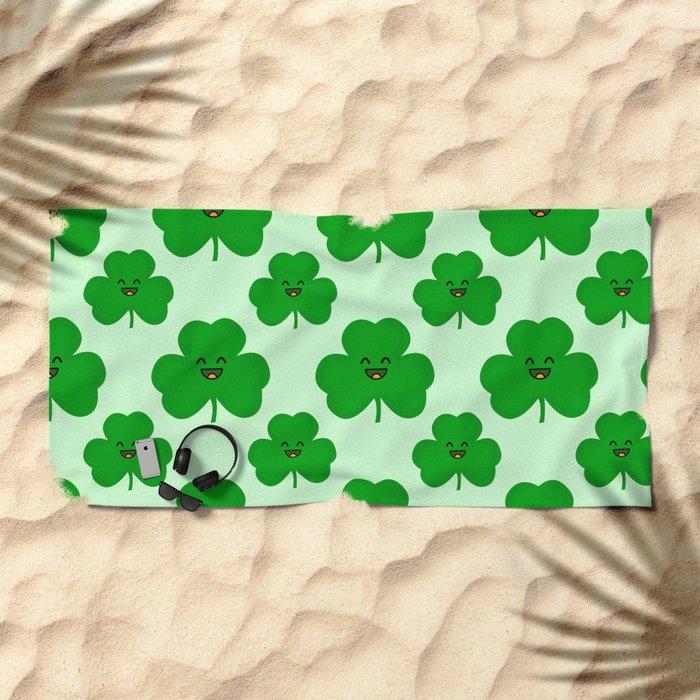 Happy Shamrock Beach Towel