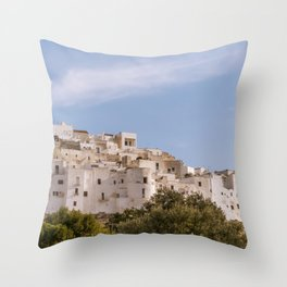 Panoramic view of the medieval white village of Ostuni Throw Pillow