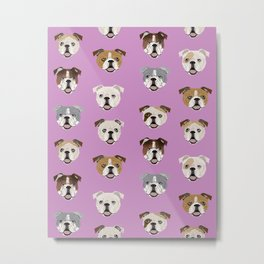 English Bulldog faces cute dog art pet portrait must have gifts for english bulldog owners Metal Print