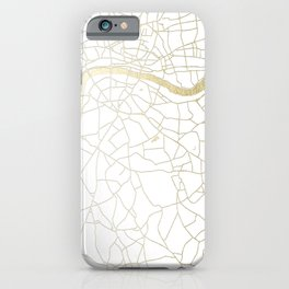 London White on Gold Street Map iPhone Case