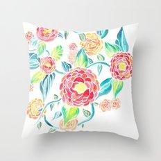 Watercolor Dahlia Throw Pillow