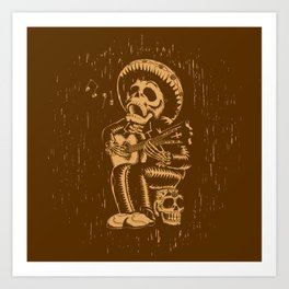 Dia De Los Muertos woodcut Art Print