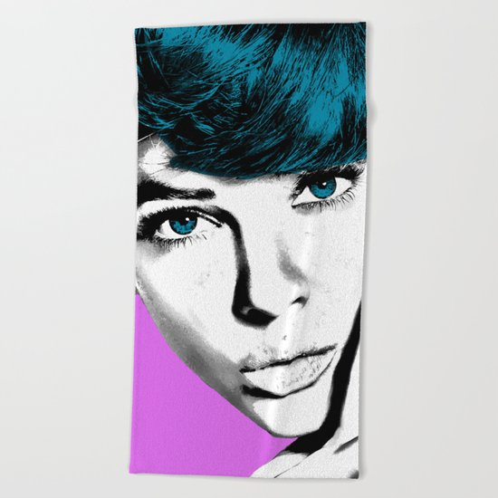 Woman with Blue Eyes Beach Towel