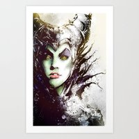 maleficent Art Prints featuring Maleficent by Vincent Vernacatola
