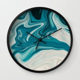 Blue White Abstract Marble Wall Clock