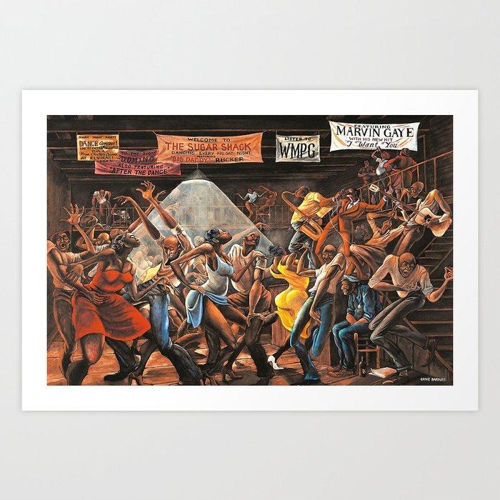 Classical 1970's African American Masterpeace - Ernie Barnes The Sugar Shack Print - Home Decorwall Artpicture Art Print by Design-art - SMALL