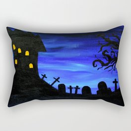 Haunted House Silhouette Rectangular Pillow