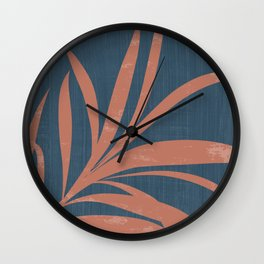 Blue Abstract Leaf Wall Clock