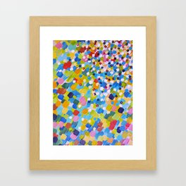 SWEPT AWAY 1 - Bright Colorful Rainbow Blue Ocean Waves Mermaid Splash Abstract Acrylic Painting Framed Art Print