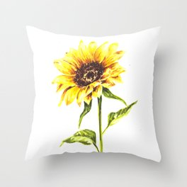 Watercolor Sunflower Throw Pillow