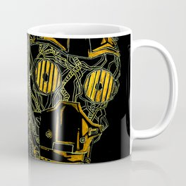 Geometric Black and Gold Robot Coffee Mug
