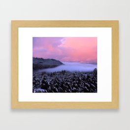Pink Sunrise With Foggy River Framed Art Print