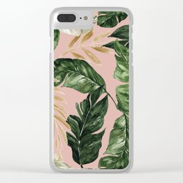 greenery and gold tropical leaves on faded pink Clear iPhone Case