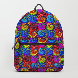 Spiral Tie Dye Checkerboard Backpack