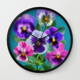 Bouquet of violets I Wall Clock