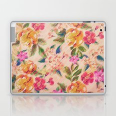 Golden Flitch (Digital Vintage Retro / Glitched Pastel Flowers - Floral design pattern) Laptop & iPad Skin