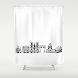 Paris architecture illustration Shower Curtain