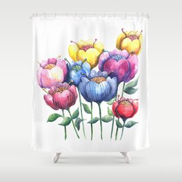 Dancing Posies Shower Curtain