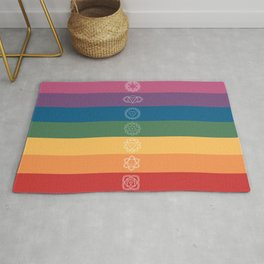 Seven Chakra Mandalas on a Striped Rainbow Color Background Rug