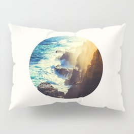 Mid Century Modern Round Circle Photo Graphic Design Blue Waters Rocky Shores With Sunlight Pillow Sham
