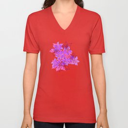 Olowalu Hibiscus Hawaiian Camo Aloha Shirt Print   Unisex V-Neck