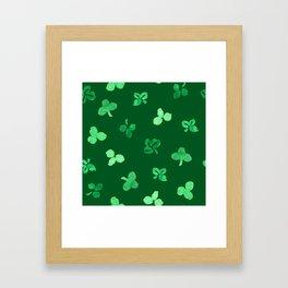 Clover Leaves Pattern on Green Framed Art Print