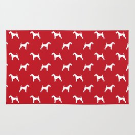 Airedale Terrier red and white minimal dog pattern dog silhouette pattern Rug
