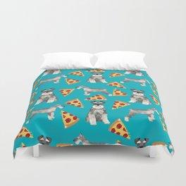schnauzer pizza dog breed pet pattern dog mom Duvet Cover