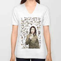 regina mills V-neck T-shirts featuring Regina Spektor by Iany Trisuzzi