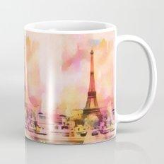 Paris Eifel Tower Abstract Art Illustration pink orange yellow Mug