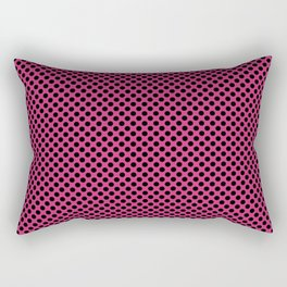 Fuchsia Purple and Black Polka Dots Rectangular Pillow