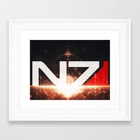 n7 Framed Art Prints featuring Mass Effect N7 by Anthony.Ch