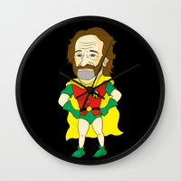 robin williams Wall Clocks featuring Robin as Robin by Chris Piascik